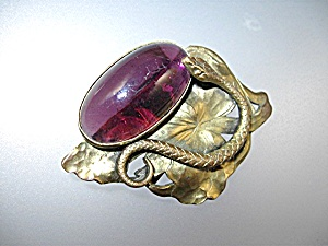 Amethyst Cabochon Glass Stone BrassBelt Buckle Antique (Image1)