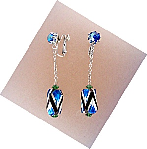 Vendome Crystal Blue Clear Black Dangle Clip Earrings (Image1)