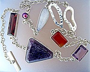Sterling Silver Moonstone Pearl Rose Quartz Amethyst Ne (Image1)