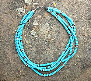 Navajo Necklace Sleeping Beauty Turquoise Sterling Silv