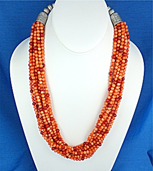 Native American Coral 10 Strand Sterling Silver