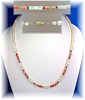 Necklace Coral Mother Of Pearl Flowers Peridot