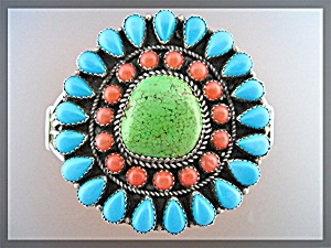 Gaspeite Jw Toadlena Turquoise Coral Sterling Usa