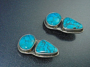 Navajo Turquoise And Sterling Silver Clip Earring