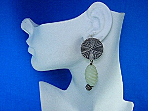 Sterling Silver And Jadeite Clip Earrings
