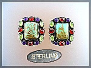 Turquoise Amethyst Peridot Garnet Sterling Silver Earri (Image1)