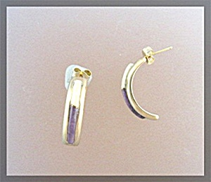 14K Gold Amethyst Jade Pierced Earrings Signed SKY (Image1)