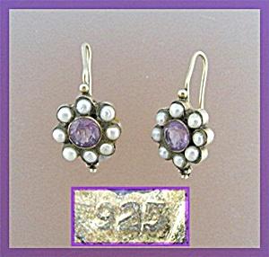 Sterling Silver Gold Vermeil Pearl Amethyst Pierced Ear (Image1)