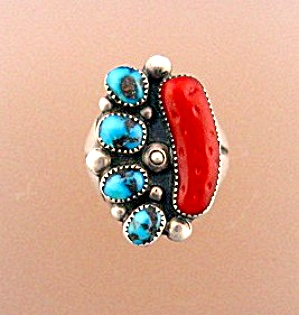 Sterling Silver Coral Turquoise J Silversmith Ring