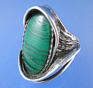 Sterling Silver Malachite Ring Signed STUCKI (Image1)