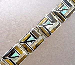 Opal Turquoise Tigereye Onyx Sterling Silver Inlay Brac