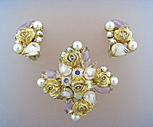 WEISS Crystal Roses Pearl Crystal Brooch & Earrings (Image1)