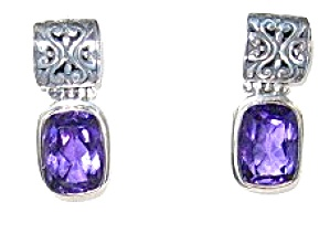 Sterling Silver Amethyst Pierced Earrings