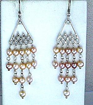 Sterling Silver Pink Freshwater  Pearl Chandelier Earri (Image1)