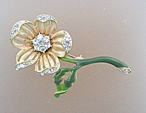 Nolan Miller Enamel And Crystal Flower Brooch