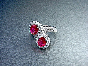 Pink Tourmaline White Sapphire Sterling Silver Ring  (Image1)
