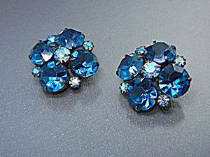 WEISS Blue Crystal Clip Earrings (Image1)
