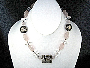 Sterling Silver Rose Quartz Crystal Necklace  (Image1)