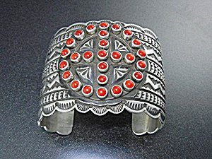 Native American Coral Sterling Silver Sunshine Reeves
