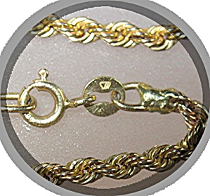 Necklace14 K Gold Rope Chain ITALY and WS (Image1)