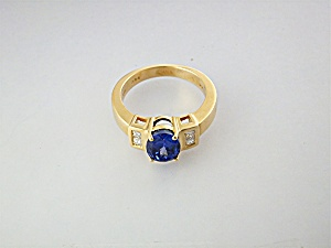 Ring 18k Gold Diamond Tanzanite Signed Iliana