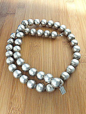 Necklace Sterling Silver Beads Taxco  Mexico TM-31 (Image1)