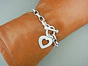 Silpada Sterling Silver Heart Toggle Link Bracelet