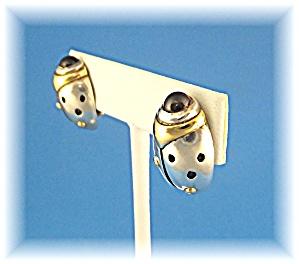 18K Gold John Atencio Bug Garnet Sterling Silver Earrin (Image1)