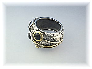 Ring Sterling Silver Gold/Brass Onyx (Image1)