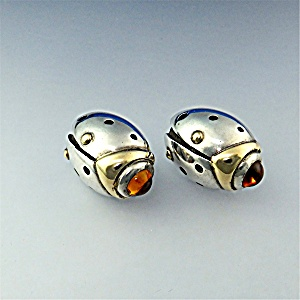 18K Gold Sterling Silver Citrine John Atencio Earrings (Image1)