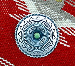 Sterling Silver Turquoise ROLAND DIXON Brooch (Image1)