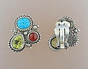 Earrings STEVEN DWEK Sterling Silver Citrine Garnet Tur (Image1)