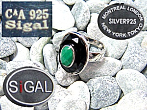 Sterling Silver Onyx Malachite Ring (Image1)
