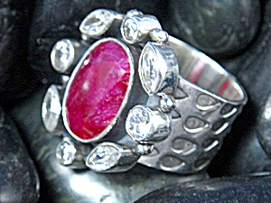 Ruby Sterling Silver Crystal Ring India (Image1)
