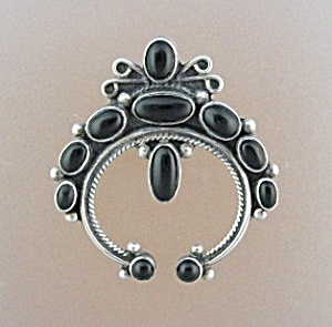 Sterling Silver Onyx Brooch Pin C HALEY (Image1)