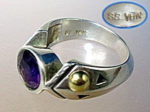 John Atencio 18k Gold Sterling Silver Amethyst Ring