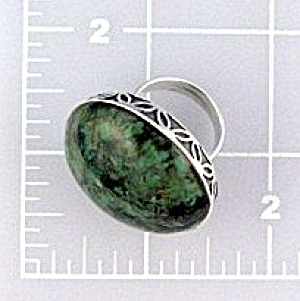 Sterling Silver Green turquoise Stone Ring. (Image1)
