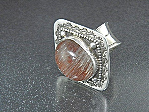 David Troutman Pink Gold Rutilated Quartz Sterling Silv