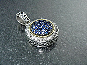 18K Gold  Sterling Silver Diamond Sapphire Effy Pendant (Image1)