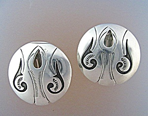 Native American Sterling Silver Fred Cleveland Earrings (Image1)