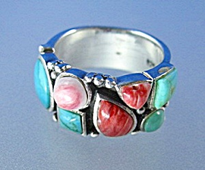Sterling Silver Turquoise Spiny Oyster Ring (Image1)