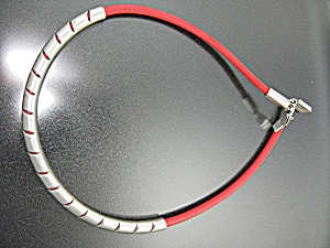 Necklace Sterling Silver Red Leather Mexico (Image1)