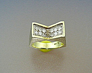 Ring 14K Gold and Diamonds Signed ML (Image1)