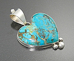 David Troutman Sterling Silver Kingman Turquoise Heart  (Image1)