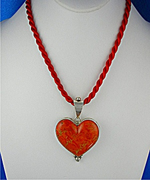Pendant Apple Coral Sterling Silver Heart David Troutma (Image1)