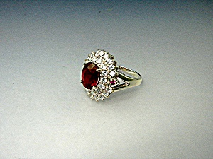Ring Ruby White Topaz Sterling Silver