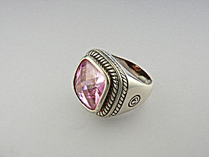 Sterling Silver Pink Topaz and Gold Ring Signed  (Image1)
