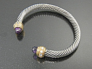 Bracelet Sterling Silver Twist Cuff with  Amethyst  (Image1)