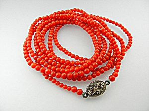 Necklace Coral Beads Sterling Silver Clasp