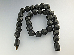 Necklace Black Faceted Lucite/Bakelite Graduated (Image1)